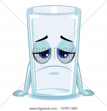 Vector Illustration of Empty Glass of Water Mascot Sad
