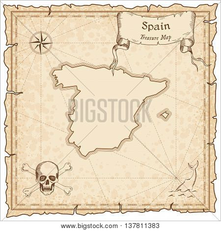 Spain Old Pirate Map. Sepia Engraved Template Of Treasure Map. Stylized Pirate Map On Vintage Paper.
