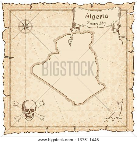 Algeria Old Pirate Map. Sepia Engraved Template Of Treasure Map. Stylized Pirate Map On Vintage Pape