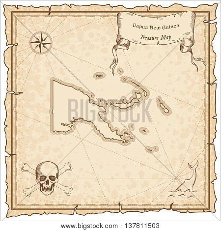 Papua New Guinea Old Pirate Map. Sepia Engraved Template Of Treasure Map. Stylized Pirate Map On Vin