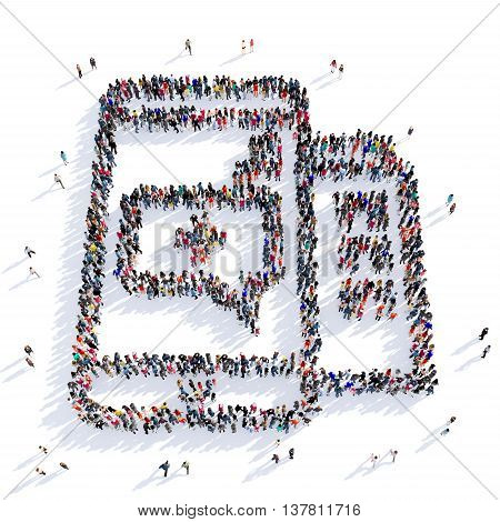 Large and creative group of people gathered together in the shape of a smartphone. 3D illustration, isolated on white background. 3D rendering