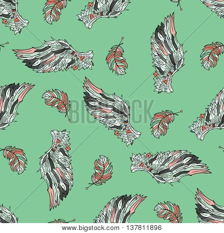 Seamless pattern with angel wings. Hand drawn doodle colored template with wings and feathers.