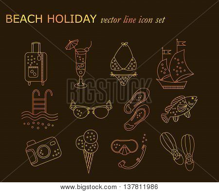 Beach holiday vector line icons. Thin liner golden icons - summer vacation. Flippers, step-ins, mask, cocktail, suitcase, sailboat, swimsuit, ice cream, sunglasses fish camera pool