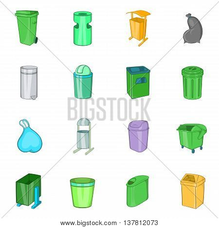 Trashcan icons in cartoon style. Garbage box set collection isolated vector illustration