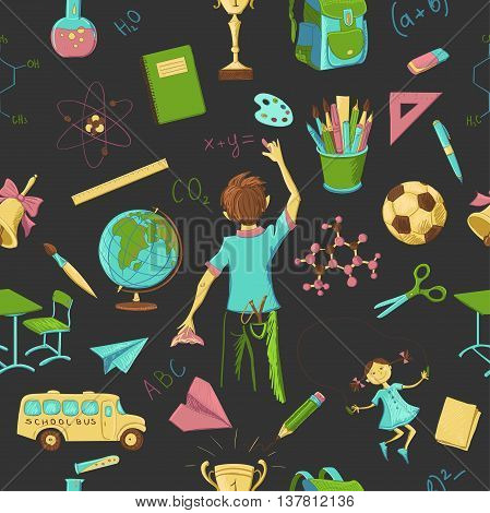 Colorful Seamless Pattern background of school and education icons design elements