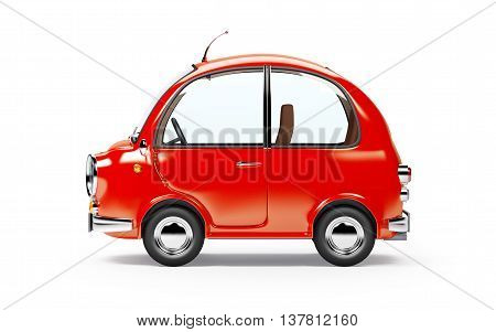 round small car side view in retro style isolated on a white background. 3d illustration.