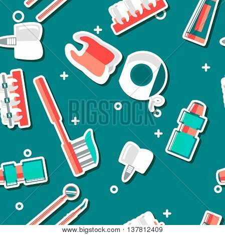 Dental flat medical pattern with dental tools, tooth and other