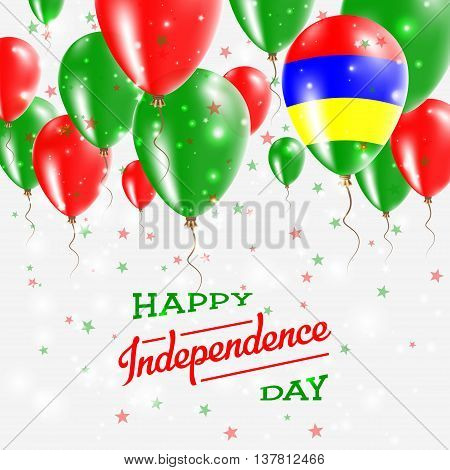 Mauritius Vector Patriotic Poster. Independence Day Placard With Bright Colorful Balloons Of Country