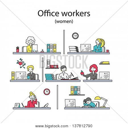 Set of office workers. Women. Editable flat styled vector illustrations.