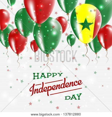 Senegal Vector Patriotic Poster. Independence Day Placard With Bright Colorful Balloons Of Country N