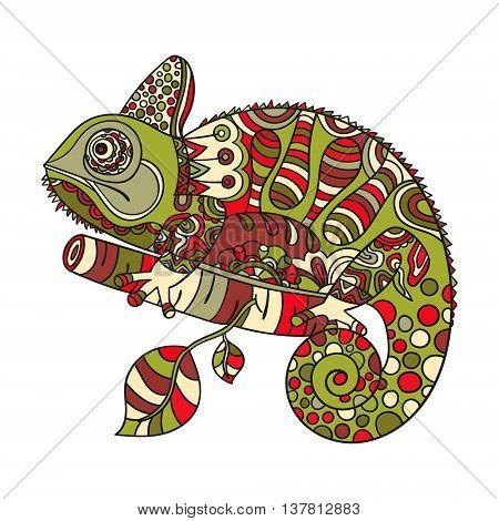 Hand drawn chameleon. Ethnic tribal styled pattern. Colored zentangle lizard. Boho design. Vector.