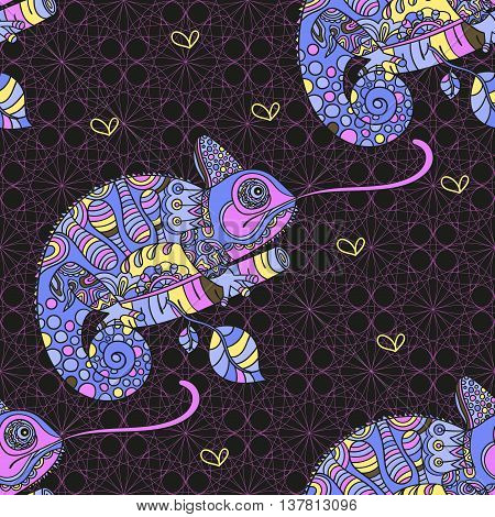 Seamless pattern with hand drawn chameleon. Ethnic tribal styled pattern. Colored zentangle lizard. Boho design. Vector.