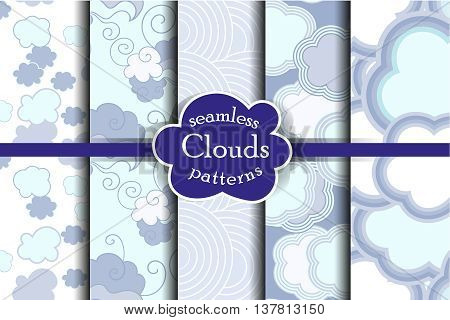 Tender sky seamless pattern set. Cartoon sky and clouds vector illustration. Blue heaven collection.