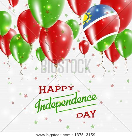 Namibia Vector Patriotic Poster. Independence Day Placard With Bright Colorful Balloons Of Country N