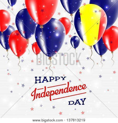 Chad Vector Patriotic Poster. Independence Day Placard With Bright Colorful Balloons Of Country Nati