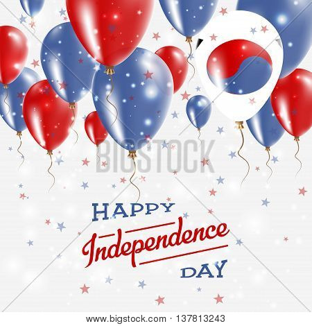 Korea, Republic Of Vector Patriotic Poster. Independence Day Placard With Bright Colorful Balloons O