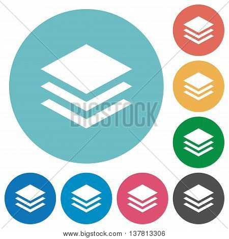 Flat layers icon set on round color background.
