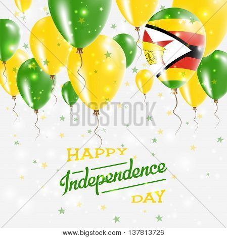 Zimbabwe Vector Patriotic Poster. Independence Day Placard With Bright Colorful Balloons Of Country