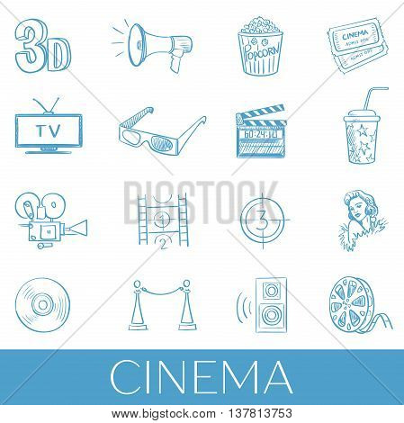 Hand drawn cinema icon set. Vector illustration, EPS 10