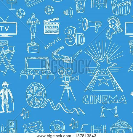Hand drawn cinema pattern, excellent vector illustration, EPS 10