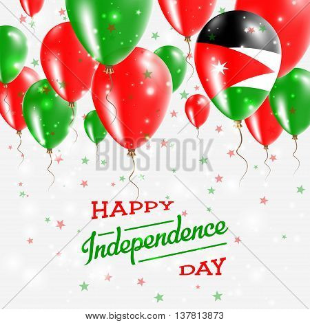 Jordan Vector Patriotic Poster. Independence Day Placard With Bright Colorful Balloons Of Country Na
