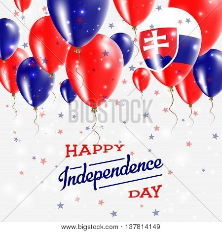Slovakia Vector Patriotic Poster. Independence Day Placard With Bright Colorful Balloons Of Country