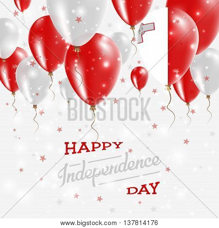 Malta Vector Patriotic Poster. Independence Day Placard With Bright Colorful Balloons Of Country Nat