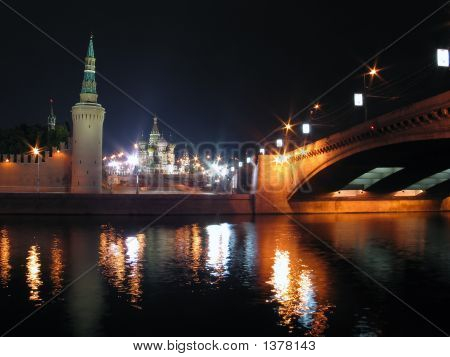 Night View Of Moscow.