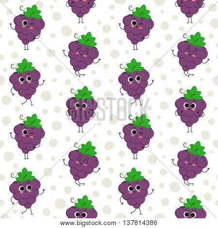 Grapes vector seamless pattern with cute fruit characters on dotted background