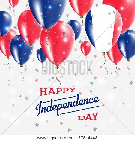Guadeloupe Vector Patriotic Poster. Independence Day Placard With Bright Colorful Balloons Of Countr