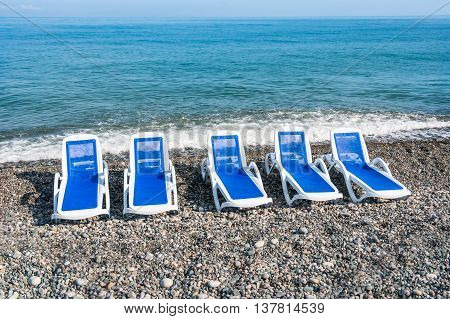 Sun Loungers On The Beach In Batumi