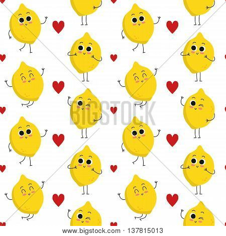 Lemon vector seamless pattern with cute fruit characters and hearts isolated on white