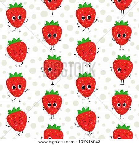 Strawberry vector seamless pattern with cute fruit characters on dotted background