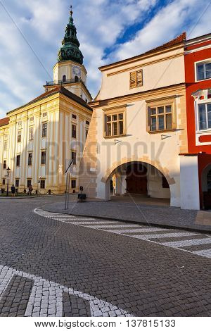 Bishop's Palace in the main square of Kromeriz city in Moravia, Czech Republic.