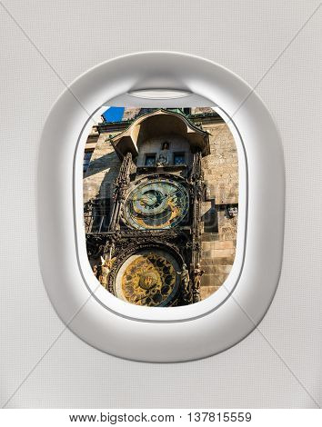 Looking Out The Window Of A Plane To The Astronomical Clock