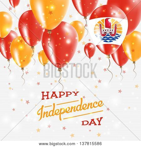 French Polynesia Vector Patriotic Poster. Independence Day Placard With Bright Colorful Balloons Of