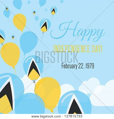 Independence Day Flat Greeting Card. Saint Lucia Independence Day. Saint Lucian Flag Balloons Patrio