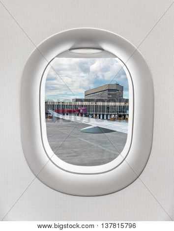 Looking Out The Window Of A Plane To The Airport In Moscow
