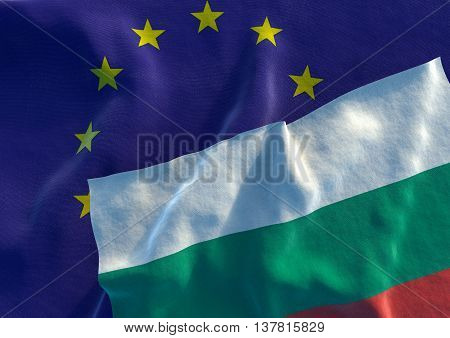 Flags of the Bulgaria and the European Union. Bulgarian Flag and EU Flag. 3D render