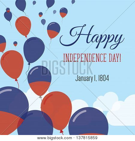 Independence Day Flat Greeting Card. Haiti Independence Day. Haitian Flag Balloons Patriotic Poster.