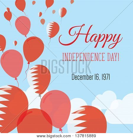 Independence Day Flat Greeting Card. Bahrain Independence Day. Bahraini Flag Balloons Patriotic Post