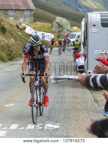 Col de la Croix de Fer France - 25 July 2015:The French cyclist Sylvain Chavanel of IAM Cycling Team climbing to the Col de la Croix de Fer in Alps during the stage 20 of Le Tour de France 2015.