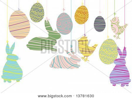 Vector illustration of easter objects hanging over white background