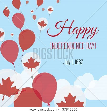 Independence Day Flat Greeting Card. Canada Independence Day. Canadian Flag Balloons Patriotic Poste