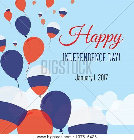Independence Day Flat Greeting Card. Russian Federation Independence Day. Russian Flag Balloons Patr