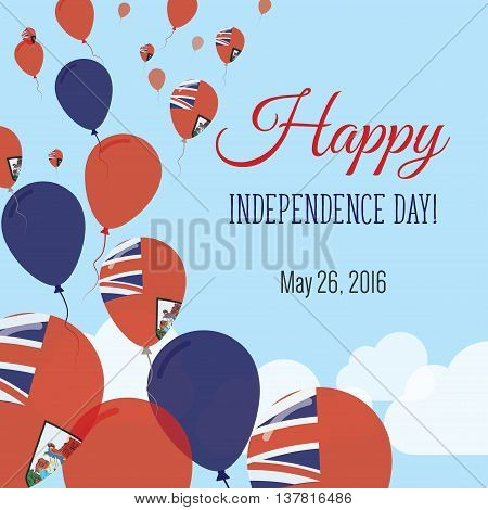 Independence Day Flat Greeting Card. Bermuda Independence Day. Bermudian Flag Balloons Patriotic Pos