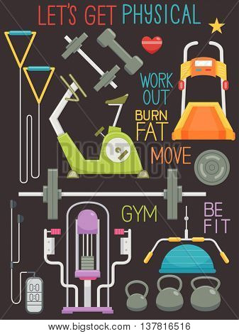Illustration Featuring Different Gym Equipment and Lettering