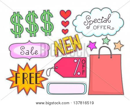 Illustration Featuring Printable Stickers for a Sales Event