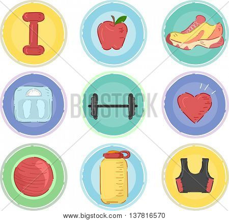 Illustration Featuring Workout Related Icons