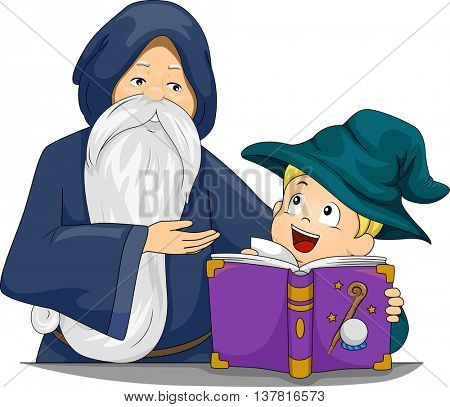 Illustration of a Boy Learning How to be a Wizard